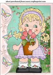 Butterfly Side Floral Girl Topper 5