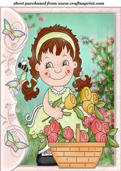 Butterfly Side Floral Girl Topper 6