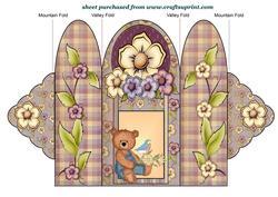 Garden Overall Garden Bear Scalloped Edge Trifold Card 2