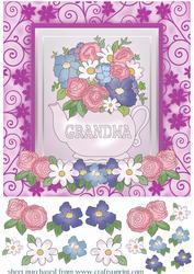 Grandma Floral Tea Pot Card Front