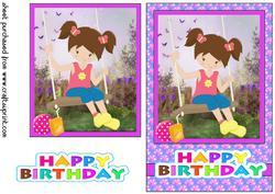 Birthday Girl Playing at Nanas/grandmas Card Front 1