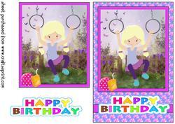Birthday Girl Playing at Nanas/grandmas Card Front 2