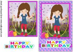 Birthday Girl Playing at Nanas/grandmas Card Front 4