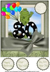 Large Age 30 Froggy Card Front