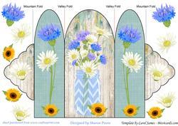 Blue Floral Mason Jar Tri Fold Card 1