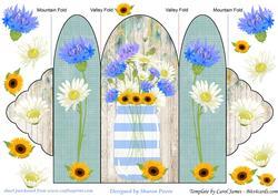 Blue Floral Mason Jar Tri Fold Card 3