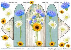 Blue Floral Mason Jar Tri Fold Card 4