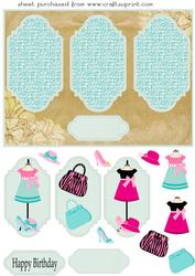 Girls Fashion Triple Plaque Card Front