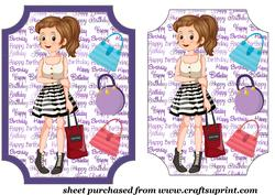 Dark Haired Birthday Girl Card Front 1