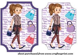 Dark Haired Birthday Girl Card Front 3