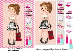 Brown Haired Teenage Girl Window Card Front 1