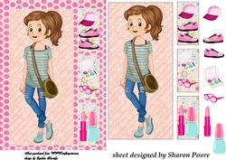 Brown Haired Teenage Girl Window Card Front 3