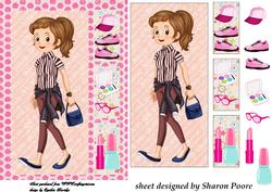 Brown Haired Teenage Girl Window Card Front 4