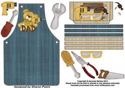 Blue DIY Dad Bear Apron Card Front