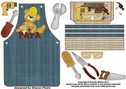 DIY Papa Bear Blue Apron Card Front