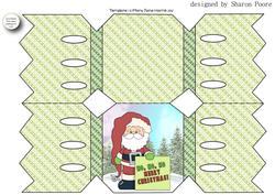 Green Santa Message Cracker Shaped Card 1