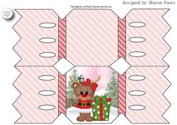 Pink Christmas Ruby Reindeer Cracker Shaped Card 1