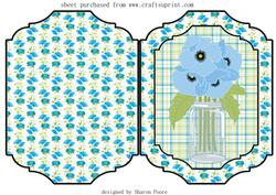 Blue Mason Jar of Poppies Cut and Fold Card