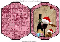 Christmas Wine Lovers Cut and Fold Card