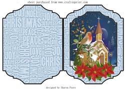 Christmas Robin and Church Cut and Fold Card