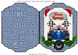 Blue F1 Christmas Cut and Fold Card