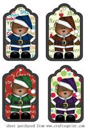 4 Santa Bear Tag Toppers
