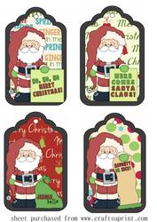 4 Santa Message Tag Toppers