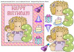 Age 3 Birthday Girl Card Front