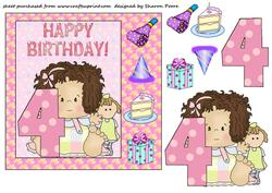 Age 4 Birthday Girl Card Front