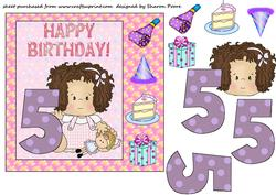 Age 5 Birthday Girl Card Front