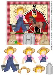 Farmers Girl Square Card Front