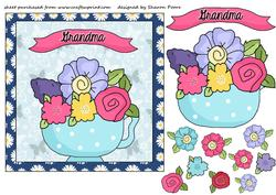 Blue Floral Grandma Card Front