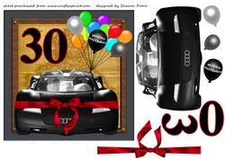 Black 30th Birthday Sports Car Card Front