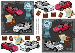 Mini Road Trip Birthday Card Fronts 30th/40th