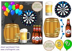 30th Birthday Beer and Darts Card Front