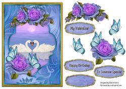 Floral Butterflies and Swans Card Front