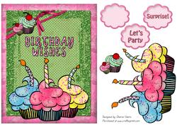 Sparkle Birthday Cupcake Card Front