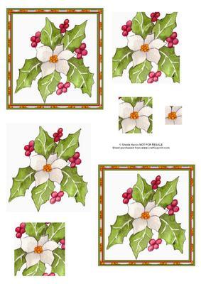 Christmas Rose and Holly Pyramid Sheet