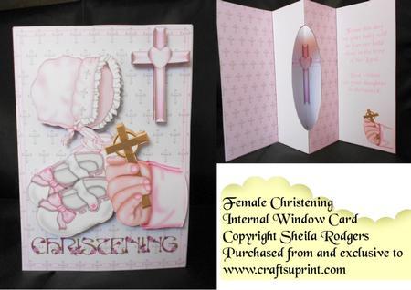 Internal Window Card - Female Christening