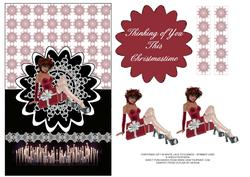 Christmas Gift in White Lace Stockings - Spinner Card