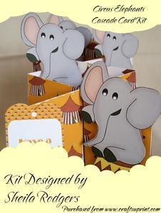 Circus Elephants Cascade Card Kit