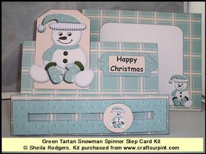 Green Tartan Snowman Spinner Step Card Kit