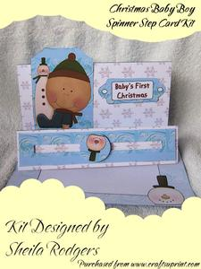 Christmas Baby Boy Spinner Step Card Kit