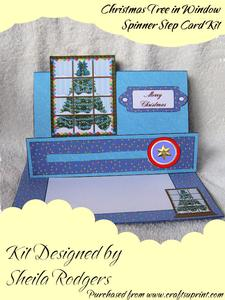 Christmas Tree in Window Spinner Step Card Kit