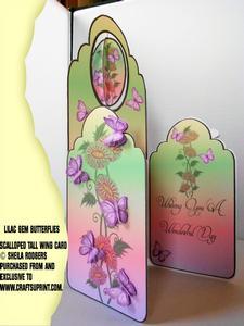 Scalloped Tall Wing Card - Lilac Gem Butterflies