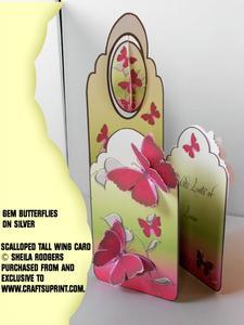 Scalloped Tall Wing Card - Gem Butterflies on Silver