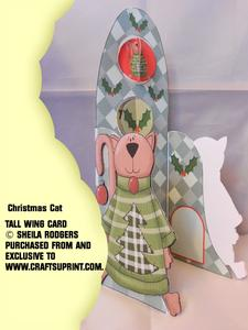 Tall Wing Card - Christmas Cat