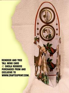 Tall Wing Card - Reindeer and Tree