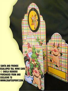 Tall Wing Card - Santa & Friends