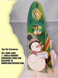 Tall Wing Card - Top Hat Snowman